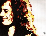 Led Zeppelin Drawings - Jimmy Page  by Silvia C Hernandez Ibarra
