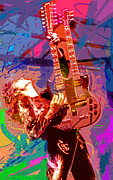 Player Painting Posters - Jimmy Page Stairway To Heaven Poster by David Lloyd Glover