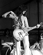 Led Zeppelin Posters - Jimmy Page With Bow 1969 Poster by Chris Walter