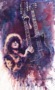 Watercolour Prints - Jimmy Page  Print by Yuriy  Shevchuk
