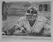 Baseball. Philadelphia Phillies Drawings - Jimmy Rollins by Paul Autodore