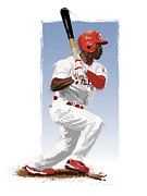 Philadelphia Phillies Posters - Jimmy Rollins Poster by Scott Weigner