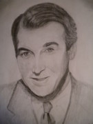 Stewart Drawings Posters - Jimmy Stewart Poster by Shawn Fazenbaker