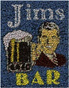 Bottle Cap Digital Art Posters - Jims Bar Bottle Cap Mosaic Poster by Paul Van Scott