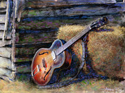Watercolor Mixed Media Prints - Jims Guitar Print by Andrew King
