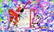 Hockey Painting Prints - Jiri Hudler Print by Donald Pavlica