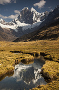Mountain Prints - Jirishanca Peak 6090m And Stream Print by Colin Monteath