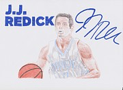 Player Drawings Posters - J.J Redick Poster by Toni Jaso