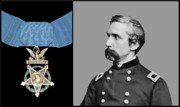 Gettysburg Digital Art Framed Prints - J.L. Chamberlain and The Medal of Honor Framed Print by War Is Hell Store
