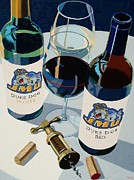 Wine Art Paintings - JMU Red and White Number Two by Christopher Mize
