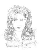 Nashville Drawings Prints - Jo Dee Messina Print by Jan Andrews