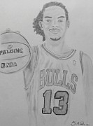 Nba Drawings Framed Prints - Joakim Noah Framed Print by Estelle BRETON-MAYA