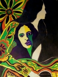 1960 Painting Framed Prints - Joan Baez In The Psychodelic Age Framed Print by Judith Redman
