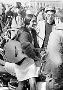 Folk Rock Framed Prints - Joan Baez March on Washington 1966 Framed Print by Jan Faul
