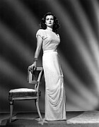 Belted Dress Posters - Joan Bennett, Portrait Wearing A Formal Poster by Everett