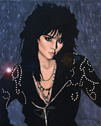 Portraits Tapestries - Textiles Originals - Joan Jett by Diane Bombshelter