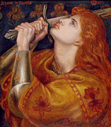 Red Hair Painting Posters - Joan of Arc Poster by Dante Charles Gabriel Rossetti