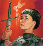 Crucifix Painting Prints - Joan of Arc Print by James Edwin McConnell