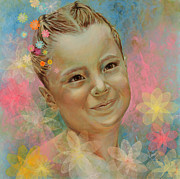 Different Painting Prints - Joanas portrait Print by Karina Llergo Salto
