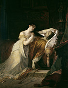 Lit Painting Framed Prints - Joanna the Mad with Philip I the Handsome Framed Print by Louis Gallait