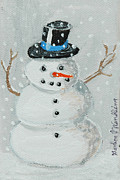 Snow Scene Paintings - Joans Snow Man by Gordon Wendling