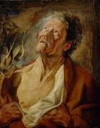 Elderly Paintings - Job by Jacob Jordaens
