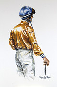 Jockey Paintings - Jockey Gold and Blue Silks by Thomas Allen Pauly