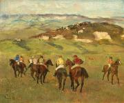 Horse Riders Prints - Jockeys on Horseback before Distant Hills Print by Edgar Degas