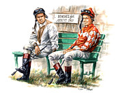 Kentucky Derby Paintings - Jockeys Only by Thomas Allen Pauly