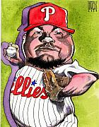 Phillies Drawings Posters - Joe Blanton -Phillies Poster by Robert  Myers
