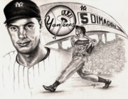 Baseball Drawings Posters - Joe Dimaggio Poster by Kathleen Kelly Thompson