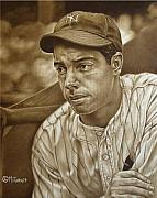 Yankees Painting Originals - Joe Dimaggio by Mark Turnes