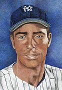 Baseball Artwork Drawings - Joe DiMaggio by Rob Payne