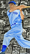 New York Yankees Mixed Media Prints - Joe DiMagio Print by Michael Lee