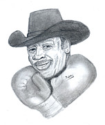 Boxer Drawings - Joe Frazier by Emmanuel Baliyanga