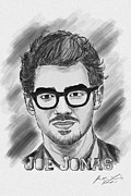 Kenal Louis Framed Prints - Joe Jonas Drawing Framed Print by Kenal Louis