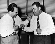 Heavyweight Boxers Posters - Joe Louis And Max Schmeling Mock Box Poster by Everett