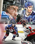 Ice Hockey Digital Art - Joe Sakic Collage by Mike Oulton