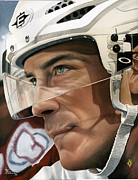 Hockey Painting Prints - Joe Sakic Print by Rich Marks