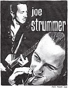 Celebrity Portraits Drawings Posters - Joe Strummer Poster by Jason Kasper