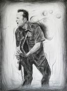 Rock N Roll Drawings Prints - Joe Strummers Dream Print by Michael Morgan