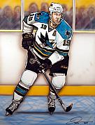  Hockey Painting Framed Prints - Joe Thornton San Jose Sharks Framed Print by Dave Olsen