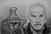 Chicago Black White Drawings Posters - Joel Quenneville Poster by Brian Schuster