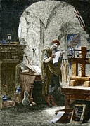 Middle Ages Prints - Johann Gutenberg, German Inventor Print by Sheila Terry
