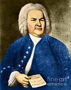 Sacred Artwork Framed Prints - Johann Sebastian Bach, German Baroque Framed Print by Photo Researchers