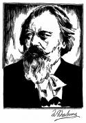 Pianist Framed Prints - Johannes Brahms (1833-1897) Framed Print by Granger