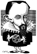 Platonic Solids Framed Prints - Johannes Kepler, Caricature Framed Print by Gary Brown