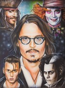 Celebrity Paintings - Johhny Depp by Tim  Scoggins