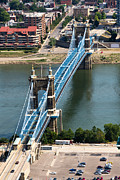 Ohio River Photos - John A. Roebling Bridge Cincinnati Ohio by Paul Velgos