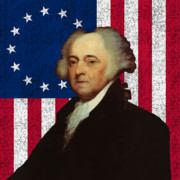 Patriot Digital Art Prints - John Adams and The American Flag Print by War Is Hell Store